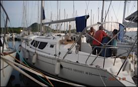 Visite d'un SUN ODYSSEY 40 DS au port du  marin, pourquoi toujours 1 m de plus ?